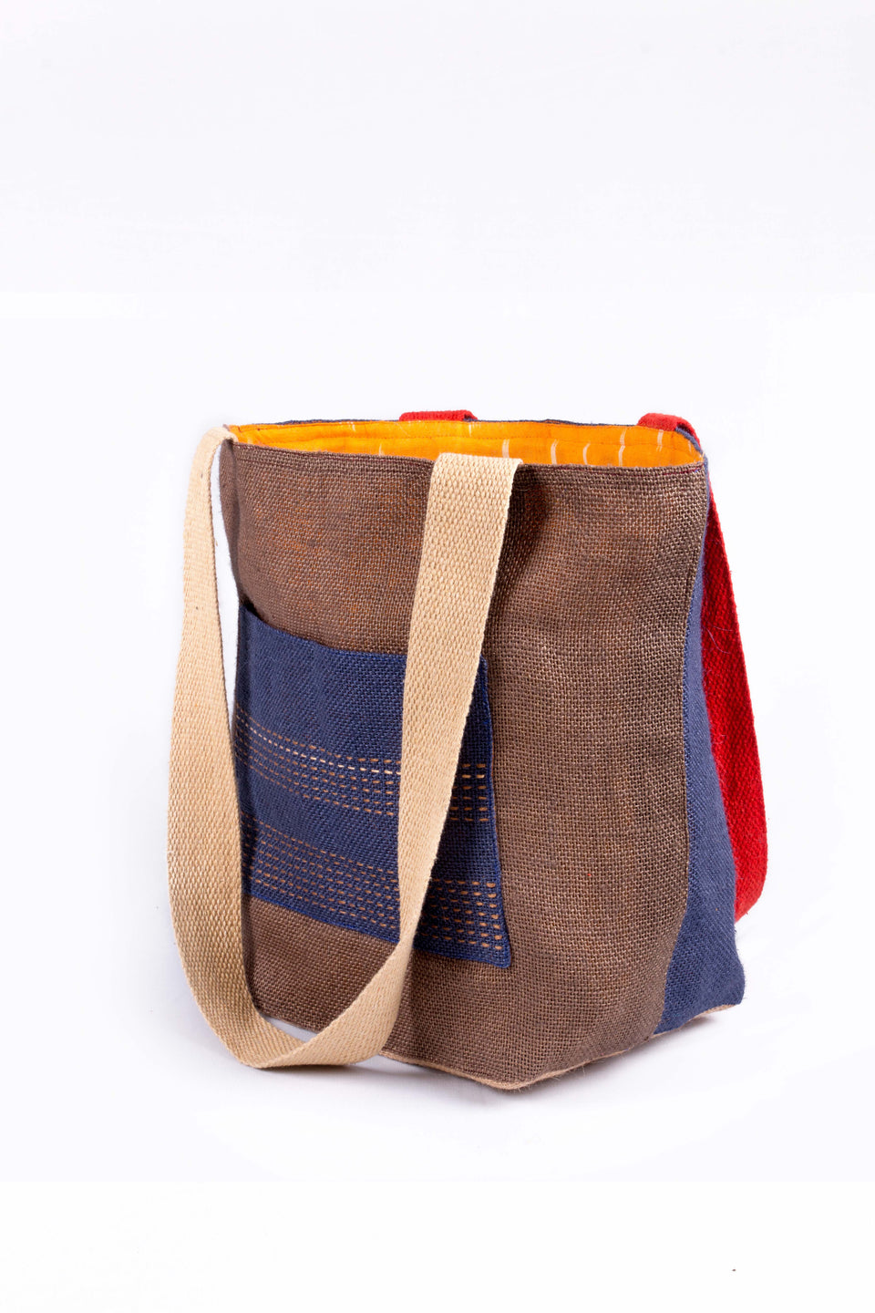 Bishesh Tote in Navy, Brown and Red
