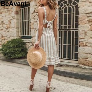 Casual Striped Linen Cotton Dress