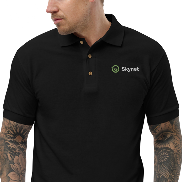 Black Skynet Embroidered Polo Shirt