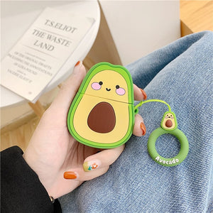 Kawaii Cartoon Rubber Soft Avocado, Strawberry & Figure AirPods Case with Hooks - Best Kawaii Shop