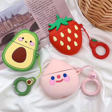 Load image into Gallery viewer, Kawaii Cartoon Rubber Soft Avocado, Strawberry & Figure AirPods Case with Hooks - Best Kawaii Shop