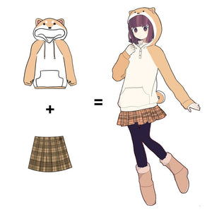 Kawaii Shiba Inu Doge Velvet Long- Sleeved Hoodie Plush Sweatshirt - Best Kawaii Shop
