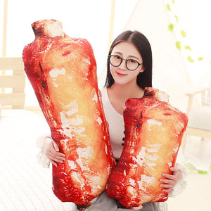 Real Looking Asian Food Pillows Sushi/ Salmon/ Nori / Pork Ribs / Egg tart Stuffed Food Plush Cushions - Best Kawaii Shop