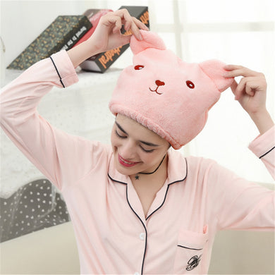 Cute Bear Shower Cap - The Loveliest Microfiber Hair Turban - Best Kawaii Shop