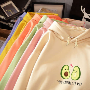 Avocado Print Kawaii Hoodie Oversized Long Sleeve Kpop Sweatshirt - Best Kawaii Shop