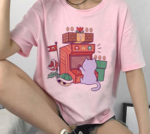 Load image into Gallery viewer, Kawaii Cat Graphic Funny Harajuku Aesthetic T-Shirt in Retro 90s Style - Best Kawaii Shop