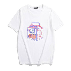 Kawaii Harajuku T-Shirt Milk Print Korean Fashion Clothing - Best Kawaii Shop