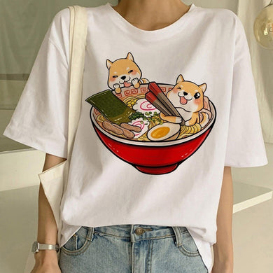 Cartoon Kawaii Shiba Inu Harajuku Cotton Loose T-Shirt - Best Kawaii Shop