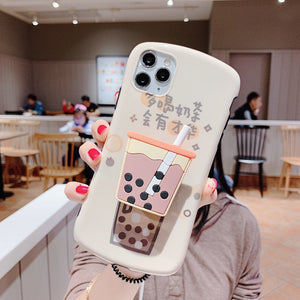 Cute Bubble Tea Soft Silicone Phone Case and Kawaii Boba Tea Phone Holder Suction Cup Pop Socket - Best Kawaii Shop