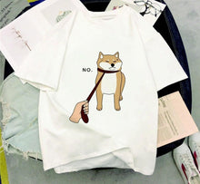 "Load image into Gallery viewer, Funny ""No"" Shiba Inu Harajuku Style T-Shirt - Best Kawaii Shop"