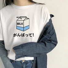 Load image into Gallery viewer, Kawaii Harajuku T-Shirt Milk Print Korean Fashion Clothing - Best Kawaii Shop