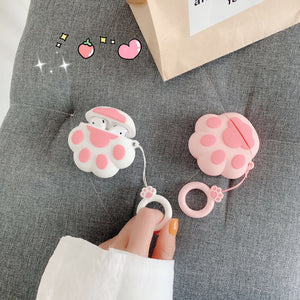 Cute Cat Paw Earphone Case AirPods Cover With Anti-lost Strap - Best Kawaii Shop
