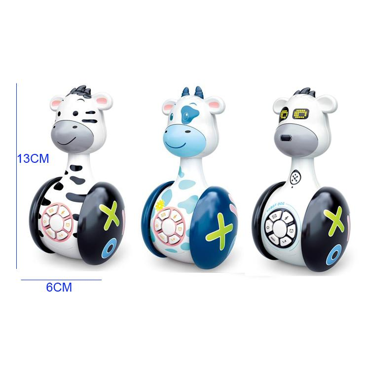 Animal baby toy tumblers with lights and music showing different styles