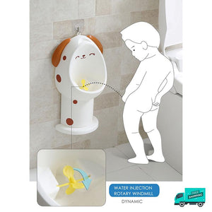 Illustration of boy peeing on the potty train urinal