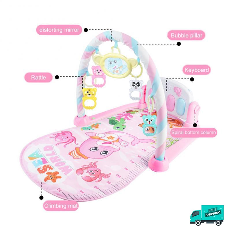 Baby gym mat with rattles, music and multi-functional piano in pink edition with specs
