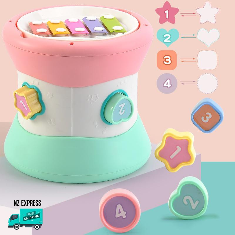 Baby colourful learning toy blocks with lights and music showing shape blocks