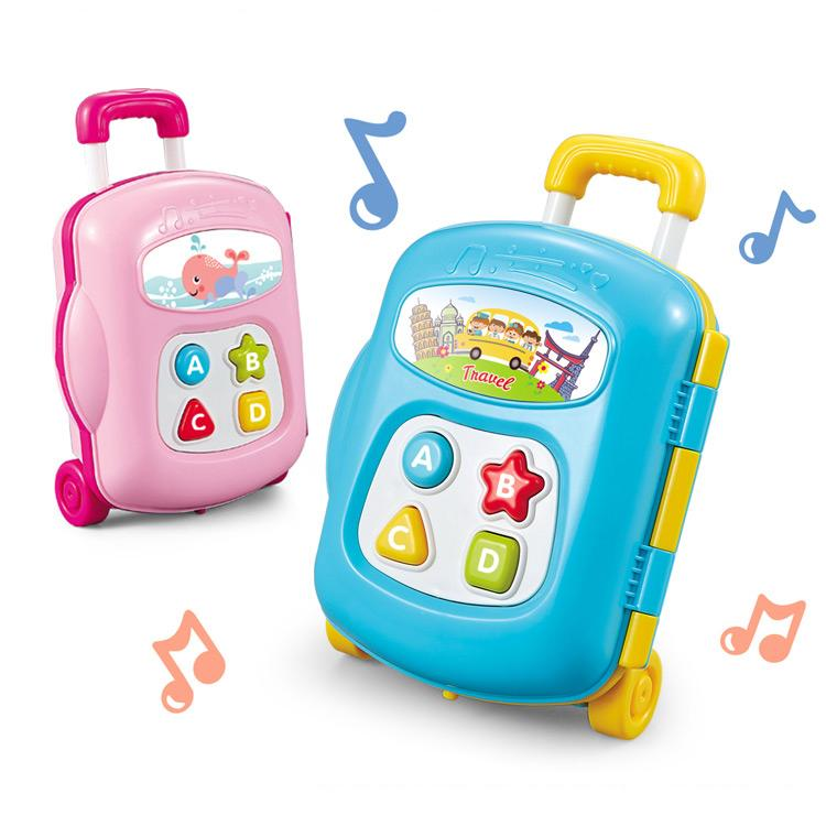 Educational baby luggage toy with music and sound blue and pink colours