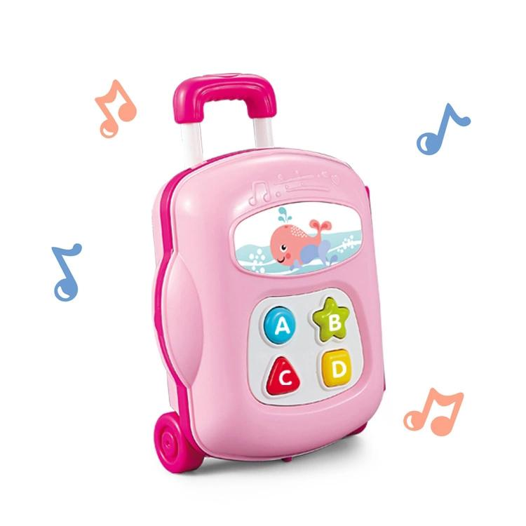 Educational baby luggage toy with music and sound pink colour
