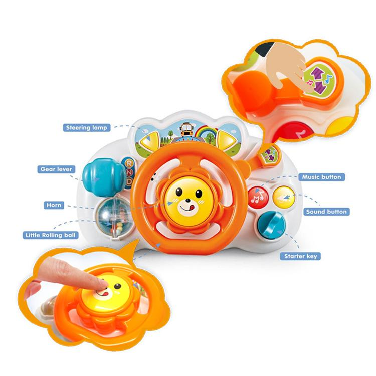 Educational baby steering wheel toy with signal lever and horn