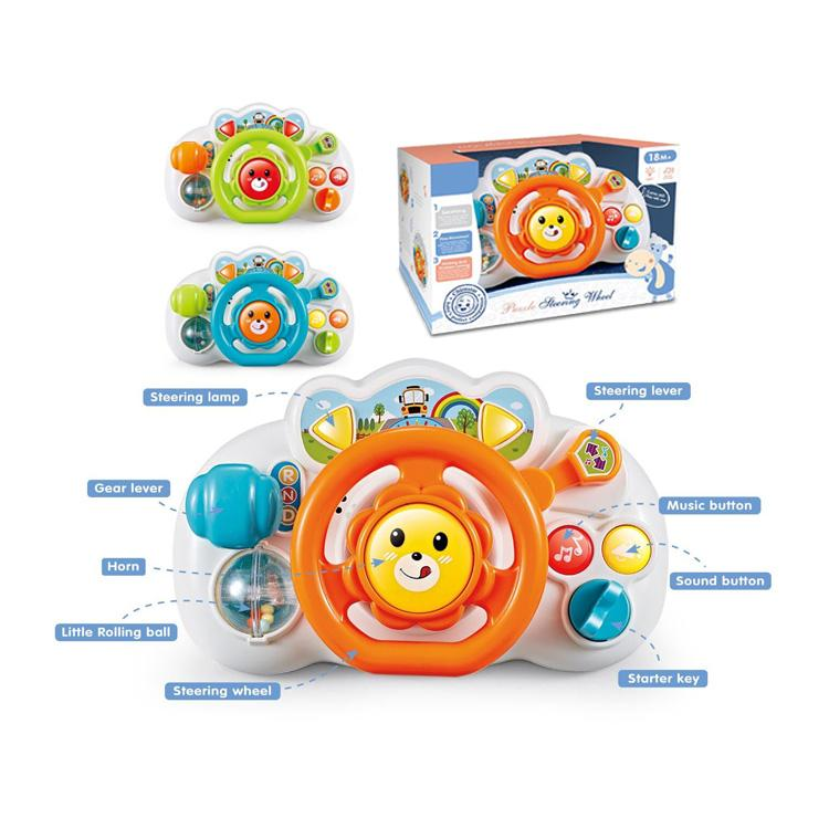 Educational baby steering wheel toy showing all the details