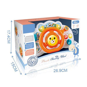 Educational baby steering wheel toy with sound and music in box packaging