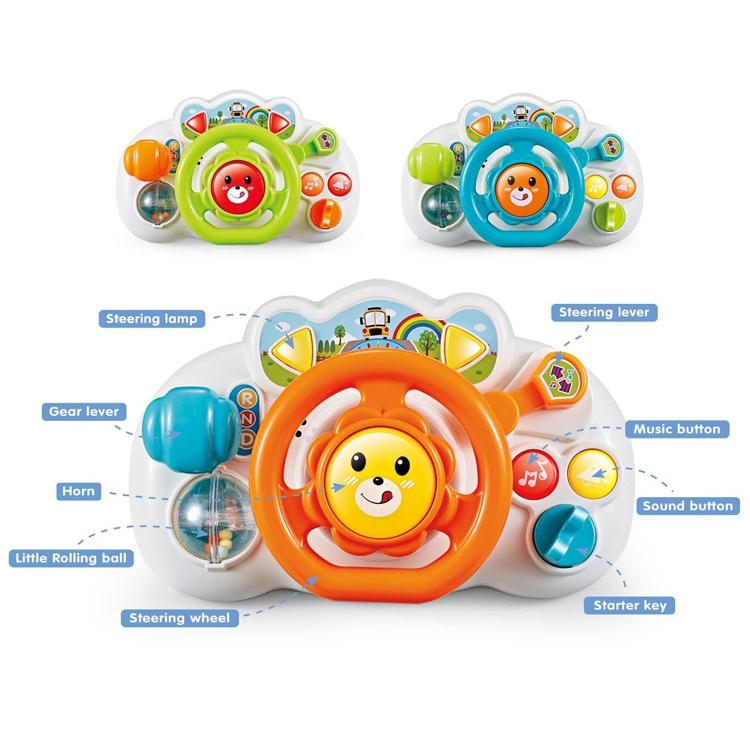 Educational baby steering wheel toy with sound and music showing different colours available