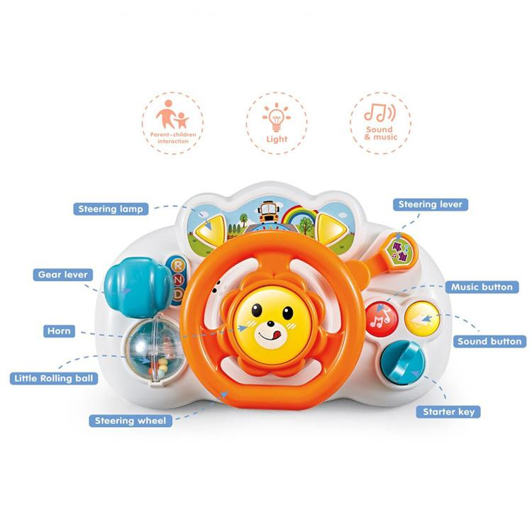 Educational baby steering wheel toy with sound and music