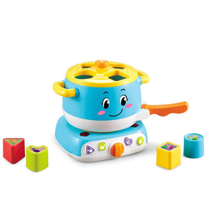 Educational baby stove learning blocks toy with lights and sound blue colour