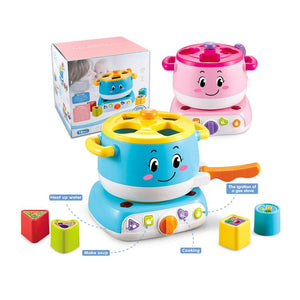 Educational baby stove learning blocks toy with lights and sound