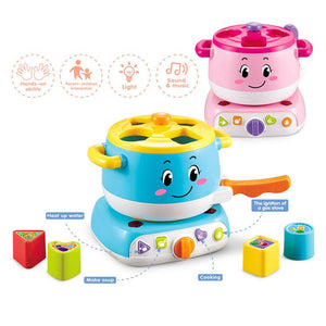 Educational baby stove learning blocks toy with lights and sound showing different colours available