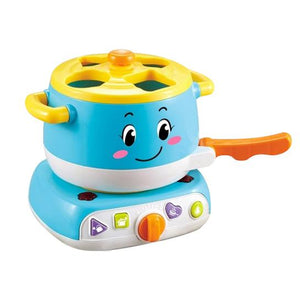 Educational baby stove learning blocks toy with lights and sound blue colour zoom in detail
