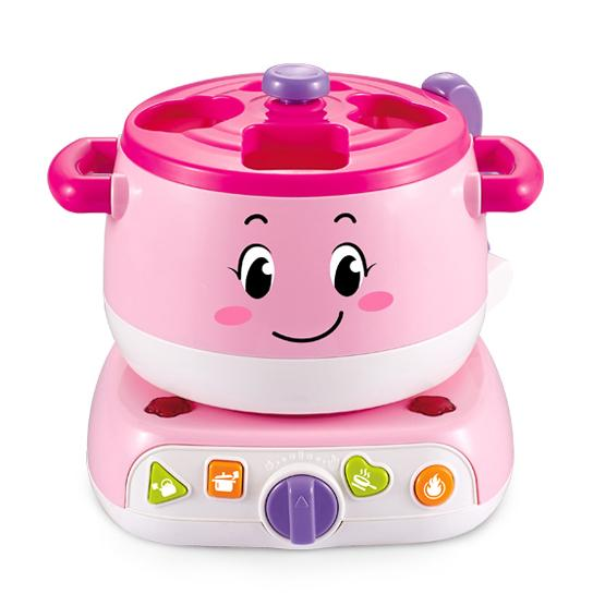 Educational baby stove learning blocks toy with lights and sound pink colour zoom in detail