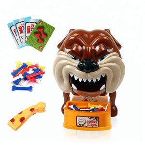 Funny Bad dog finger bite toy showing the cards, plastic bones and tongs.