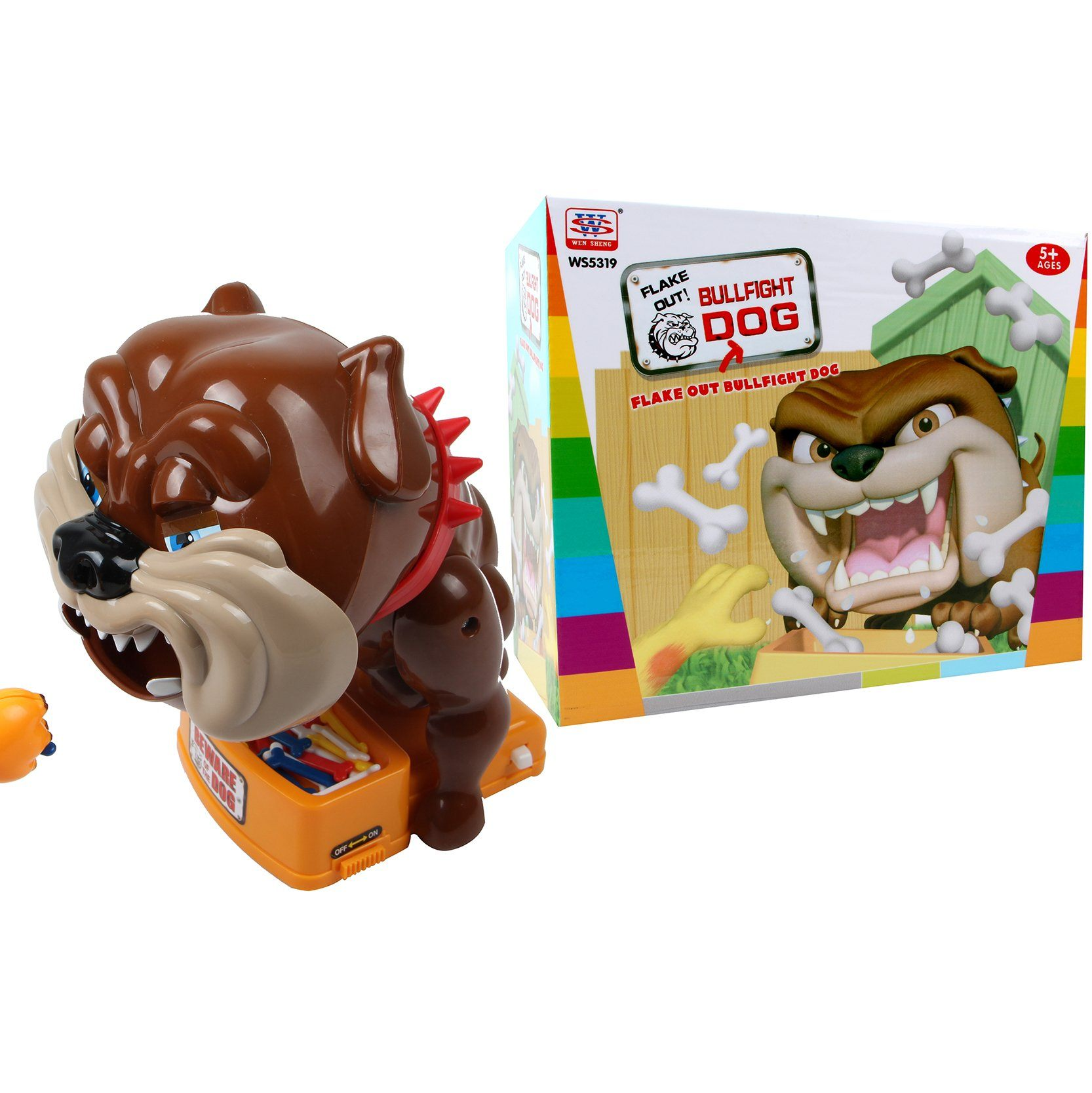 Funny Bad dog finger bite toy with sounds in box packaging