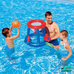 Basketball Hoop With Ring Toss My Toy Hub Family Playing at the swimming pool