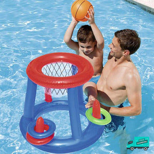 Basketball Hoop With Ring Toss My Toy Hub Kid dunking at swimming pool