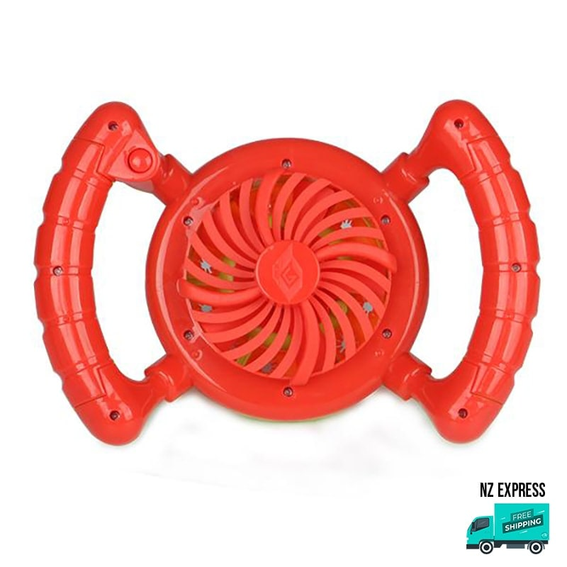 Battery operated red bubble fan toy with handles in back view
