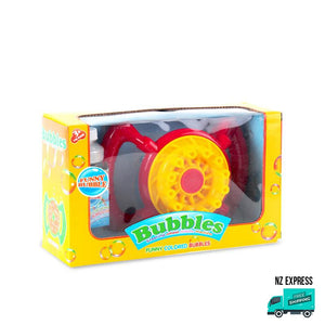 Battery operated red bubble fan toy with handles in box packaging
