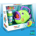 Battery operated fun bubble fish toy with handles showing sizes