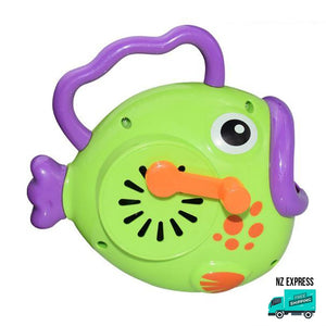 Battery operated fun green bubble fish toy with handles