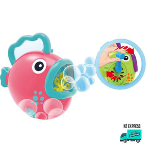 Battery operated fun pink bubble fish toy with handles