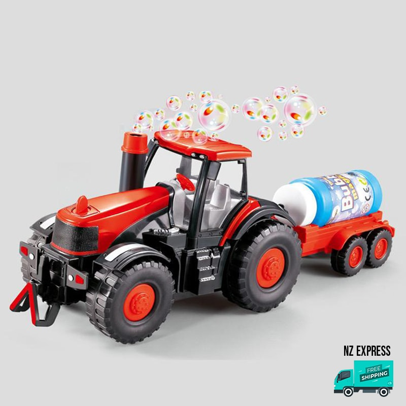 Battery operated fun bubble tractor toy