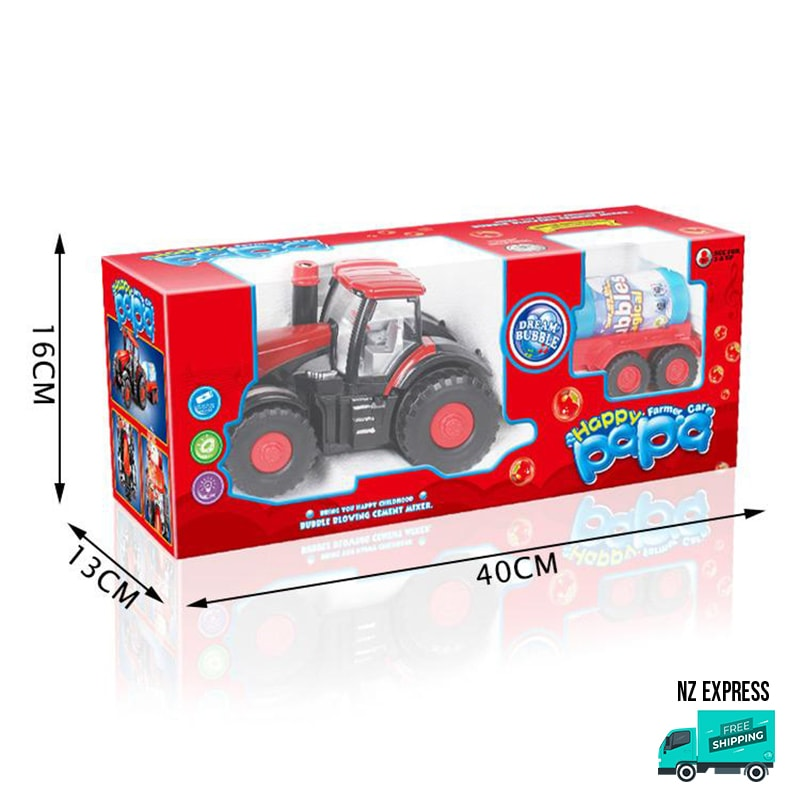 Battery operated fun bubble tractor toy showing dimensions