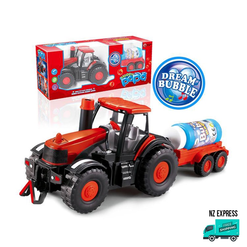 Battery operated fun bubble tractor toy in detail