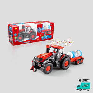 Battery operated fun bubble tractor toy in box packaging
