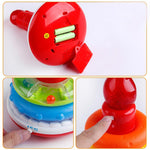 Educational rainbow cake stack ring toy with lights and music showing details