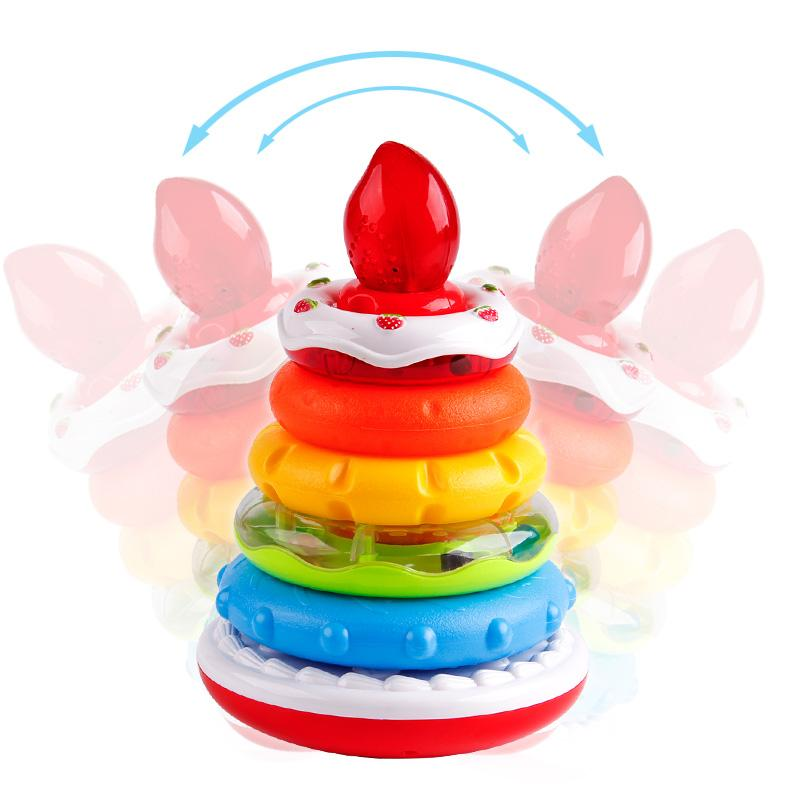 Educational rainbow cake stack ring toy with lights and music in movable sideways