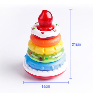 Educational rainbow cake stack ring toy with lights and music showing the dimensions