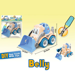 Bulldozer Truck - assemble construction truck toys with plastic screws and screwdriver