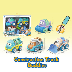 Assemble construction truck toys with plastic screws and screwdriver in box set showing the dimensions